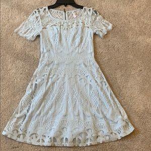 Juniors pale blue lace zip back midi dress